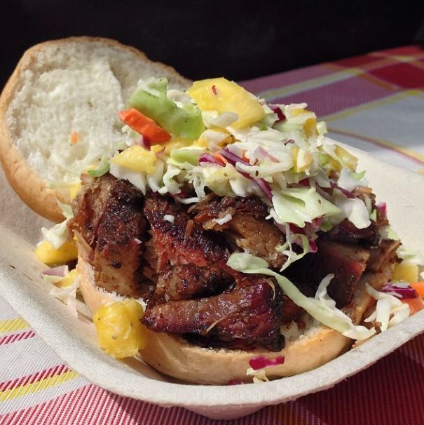 Jerk Pork Sandwich with pineapple slaw